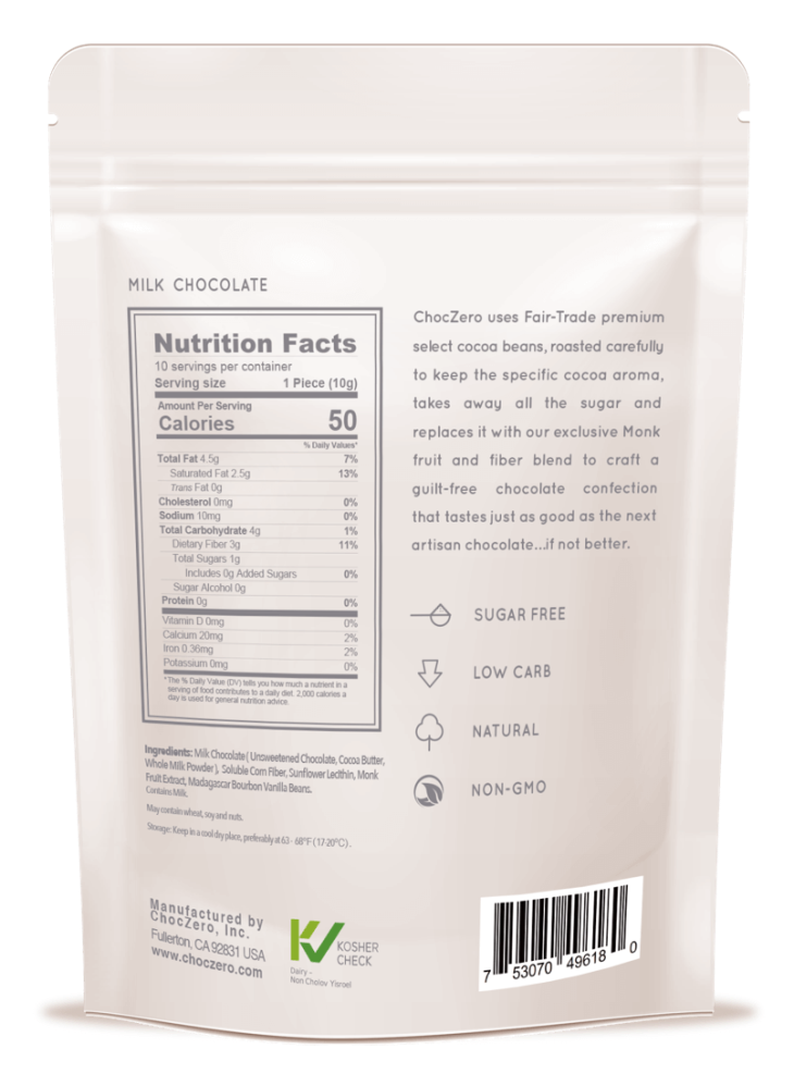 ChocZero Milk Chocolate Nutrition Facts